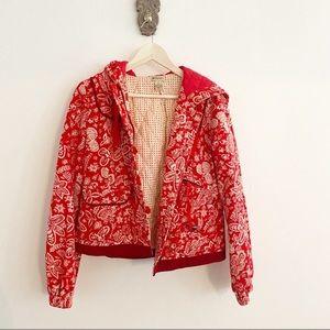 Anthropologie Elevenses Hooded Floral Coat